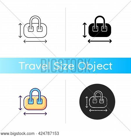 Hand Luggage Size Icon. Measuring Baggage For Flight Passenger. Portable Amenities. Essential Things