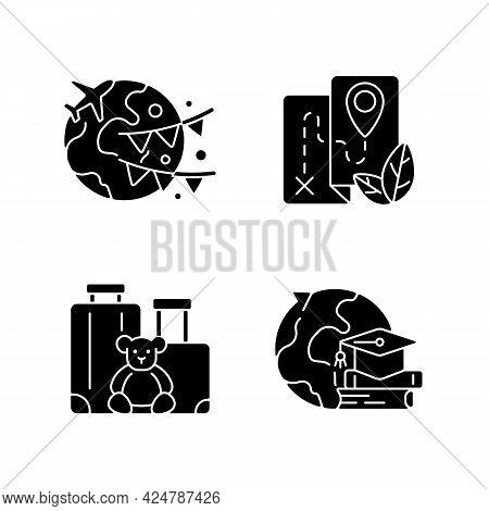 Vacation Black Glyph Icons Set On White Space. Vacation Abroad. Eco Tourism. Family Trip. Student Ex