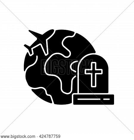 Tombstone Tourism Black Glyph Icon. Cemetery Exploration Enthusiast Traveller. Fly Abroad For Funera