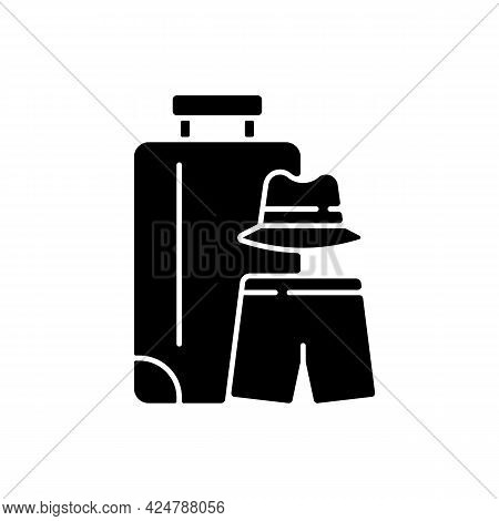 All Boys Travel Black Glyph Icon. Trip For Bachelor Party. Male Clothing Packing For Summer Beach Va
