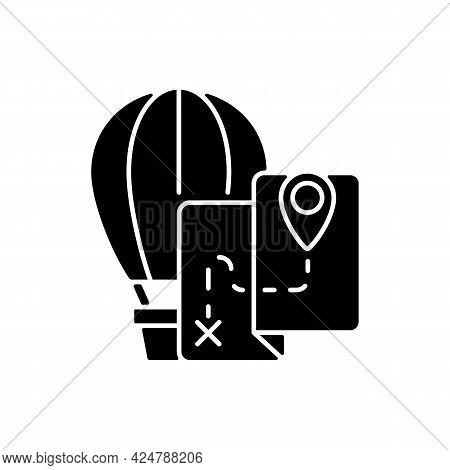 Hot Air Balloon Tourism Black Glyph Icon. Flight Journey. Fly High In Basket. Tour Plan For Entertai