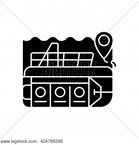 Atlantis Submarines Black Glyph Icon. Vessel For Exploration Underwater. Scientific Research. Nautic