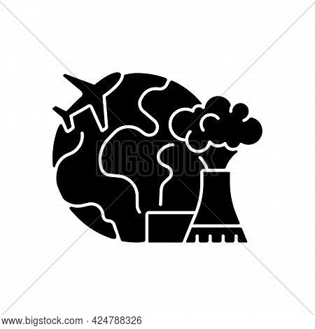 Atomic Tourism Black Glyph Icon. Nuclear Industry Exploration Abroad. Flight To Foreign Country. Ind