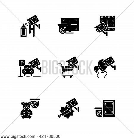 Securing Home And Business Black Glyph Icons Set On White Space. Avoiding Graffiti Damage. Cctv Moni