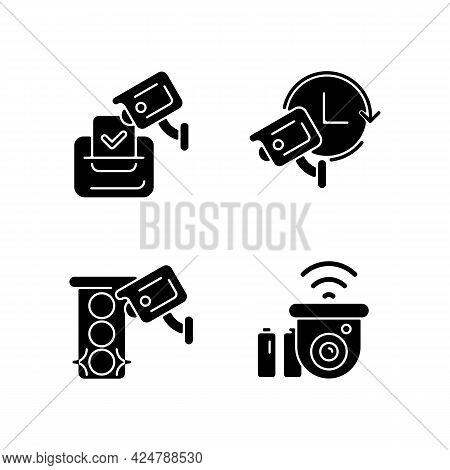Surveillance System Black Glyph Icons Set On White Space. Electoral Fraud Prevention. 24 Hour Monito