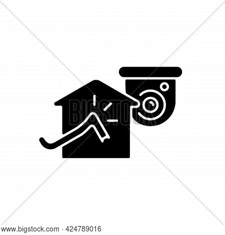 Avoiding House Intrusion With Cctv System Black Glyph Icon. Burglaries Prevention. House Robbery. Mo