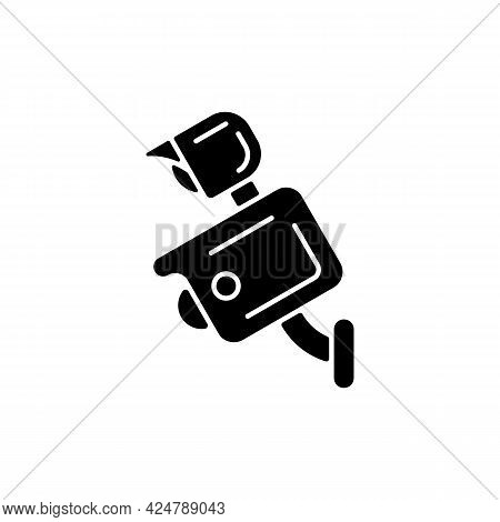 Floodlight Camera Black Glyph Icon. Scaring Away Intruders. Light Control. Wireless Outdoor Camera.