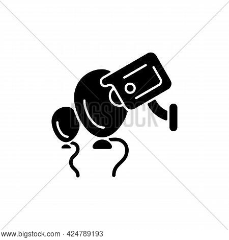 Event Security With Wireless Camera Black Glyph Icon. Surveillance Technology For Large Concerts And