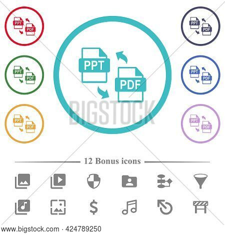 Ppt Pdf File Conversion Flat Color Icons In Circle Shape Outlines. 12 Bonus Icons Included.
