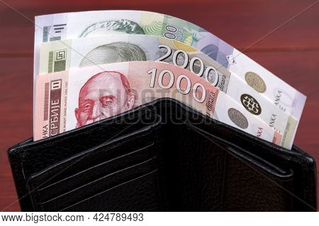 Serbian Money - Dinar In The Black Wallet