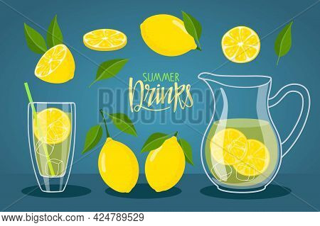 Cool Fresh Lemonade In Glass Pitcher And Glass. Vessel With Lemonade And Lemons. Summer Drink Letter