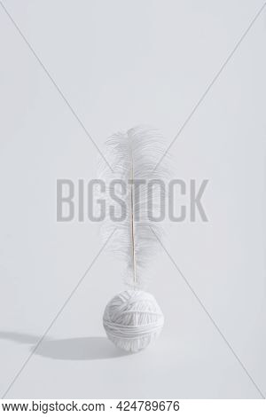 Lightweight And Soft Feather Near Ball Of Thread Isolated On White