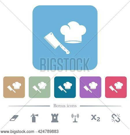 Meat Cleaver Knife And Chef Hat White Flat Icons On Color Rounded Square Backgrounds. 6 Bonus Icons