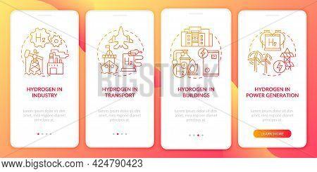 Hydrogen Solutions Onboarding Mobile App Page Screen. Transportation Sector Sector Walkthrough 4 Ste