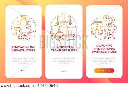 Green Energy Promotion Onboarding Mobile App Page Screen. Transport Fleets Walkthrough 3 Steps Graph