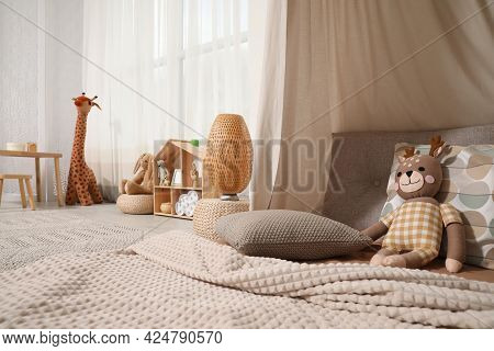 Cozy Kids Room With Play Tent, Toys And Comfortable Floor Bed. Montessori Interior