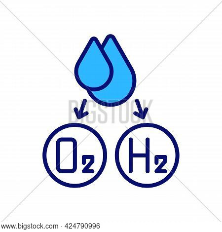 Water Splitting For Hydrogen Production Rgb Color Icon. Using High Temperatures And Electricity. Iso