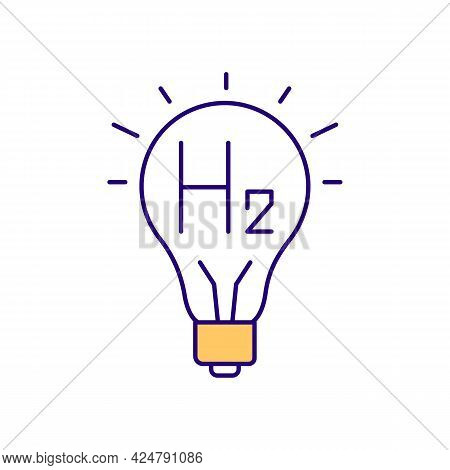 Hydrogen To Electricity Rgb Color Icon. Producing Electrical Charge With Green Energy. Isolated Vect
