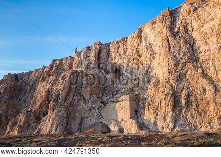 Panoramic View Onto Ancient Van Rock With Its Famous Fortress Tushpa On Top, Van, Turkey. Remains Of