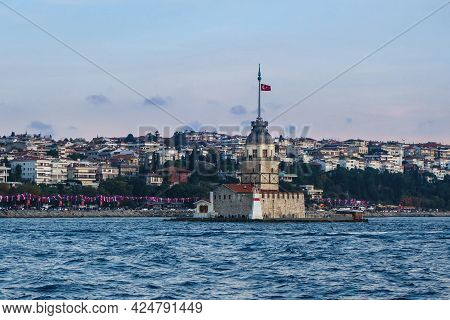Maiden Tower's Island, Famous Lighthouse Of Bosphorus Strait In Istanbul, Turkey. It's Very Popular