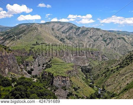 Panoramic View On The Basalt Canyon Garni Also Known As The Symphony Of Stones.  Picture Taken Near