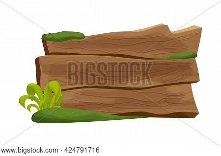 Old Rustic Plank, Wooden Banner With Moss And Grass In Cartoon Style Isolated On White Background. W