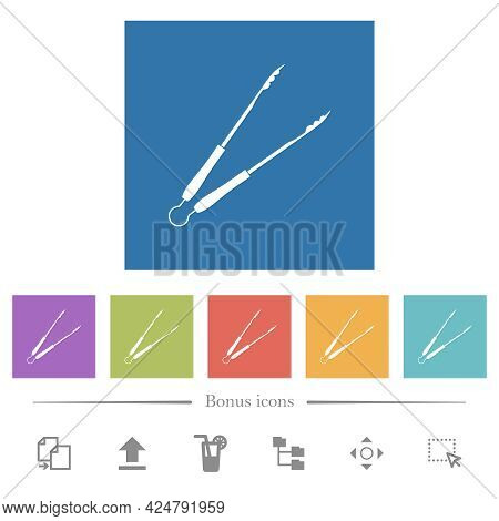 Barbecue Tongs Flat White Icons In Square Backgrounds. 6 Bonus Icons Included.