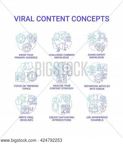 Viral Content Concept Icons Set. Focus On Trending Topic Idea Thin Line Color Illustrations. Write V