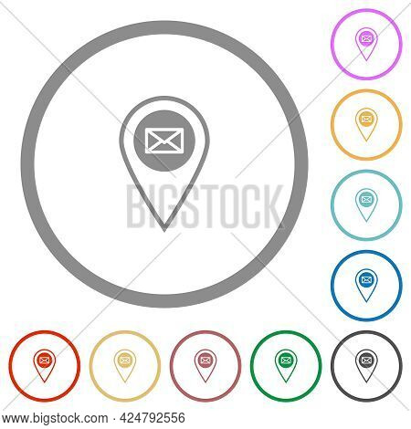 Gps Location Send Mail Flat Color Icons In Round Outlines On White Background