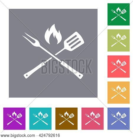 Barbecue Fork And Spatula With Flame Flat Icons On Simple Color Square Backgrounds