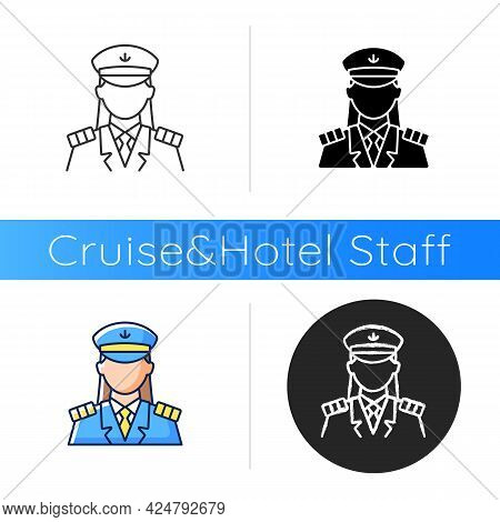 Female Captain Icon. Main Person During Cruise. Organizing Vacation For Passengers. Comfortable Ocea