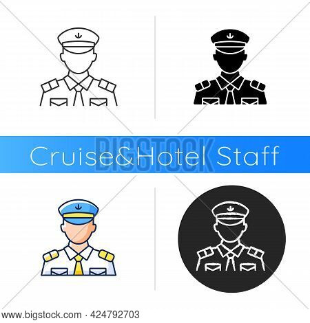 Male Chief Officer Icon. Helping Captain Organize Comfortable Trip. Controlling Crew. Cruise Travel