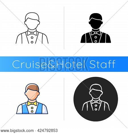 Waiter And Barman Icon. Serving Foods In Restaurants And Dining Rooms. Making Meals For Passengers D