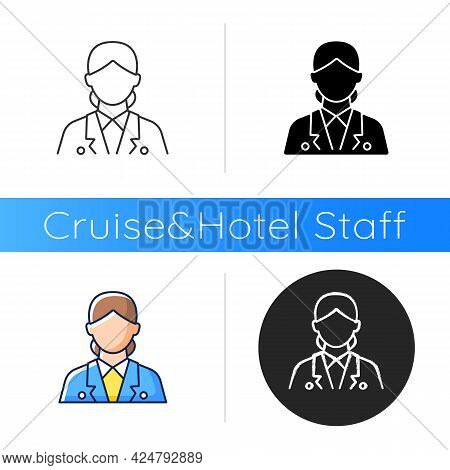 Cruise Ship Hostess Icon. Helping Passengers During Traveling. Creating Comfortable Place During Vac