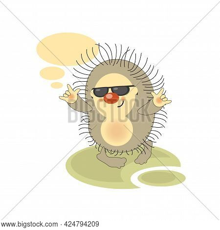 Lovely Happy Funny Character For Telephone Correspondence, Messages. Adorable Hedgehog