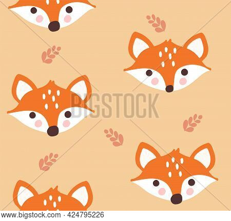 Seamless Pattern With Cute Foxes And Leaves