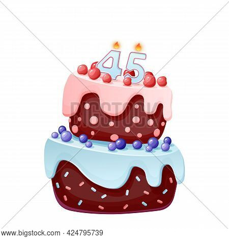 Forty Five Years Birthday Cake With Candles Number 45. Cute Cartoon Festive Vector Image. Chocolate