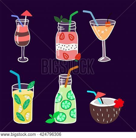 Set Of Isolated Cocktail Drinks And Smoothies