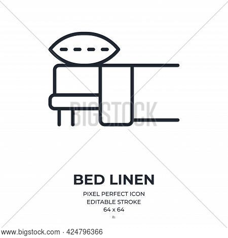 Bed Linen Set Editable Stroke Outline Icon Isolated On White Background Flat Vector Illustration. Pi