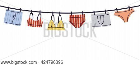 Hanging Man And Woman Lingerie, Underwear And Swimwear Flat Style Hand Drawn Vector Illustration Iso