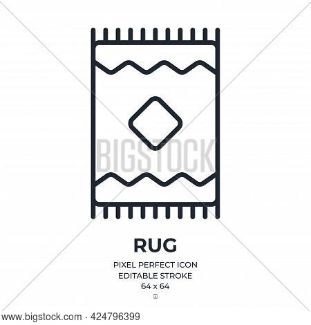 Rug Editable Stroke Outline Icon Isolated On White Background Flat Vector Illustration. Pixel Perfec