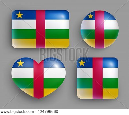 Set Of Central African Republic Flag Glossy Button. Western Africa Republic National Flag, Shiny Geo