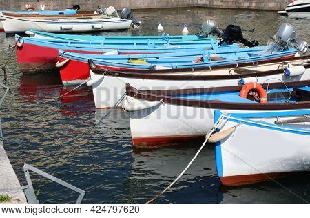Prow Of The Boats Moored In The Piccolo Marina Waiting To Sail The Sea Without People