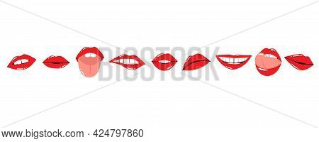 Red Lips. Female Sexy Lipstick Modern Collection. Woman Lip With Makeup, Tongue And White Teeth, Tre