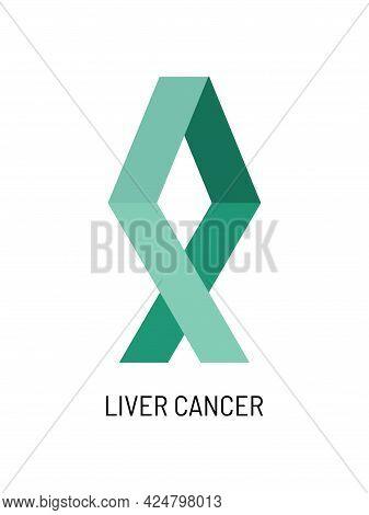 Liver Cancer Awareness Symbol. Emerald Color Vector Illustration.