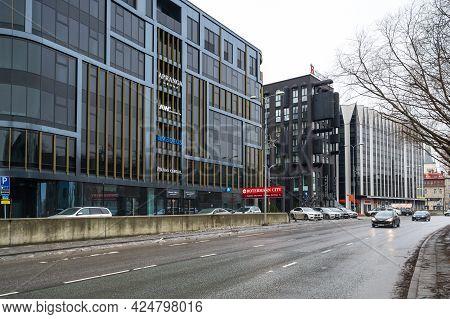 Tallinn, Estonia - 24 February, 2019: Modern Architecture In The Rotermann Quarter Of Tallinn, Eston