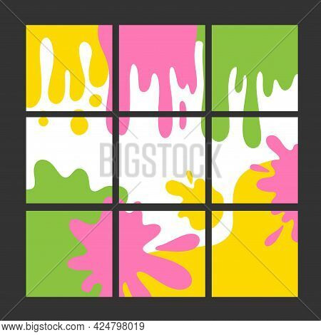 Bright Abstract Blotches Background For Social Media Posts. Modern Square Template. Hand Drawn Forms