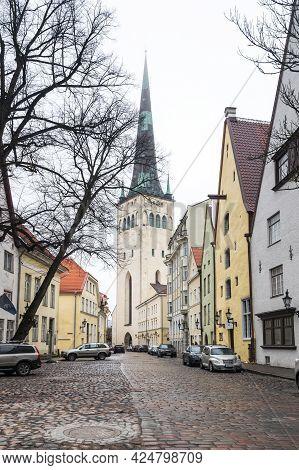 Tallinn, Estonia - 24 February, 2019: Saint Olaf Church In Old Town Of Tallinn, Capital Of Estonia.