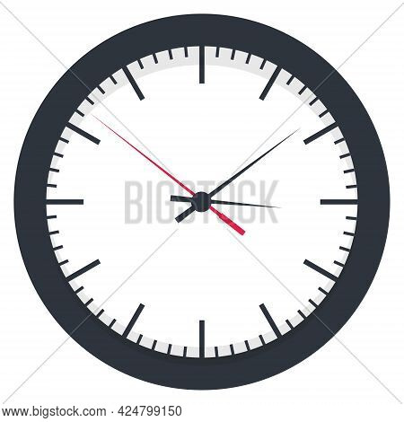 Wall Clock. Clock Face Showing Time. Black Wall Office Clock Icon Set. Design Template Closeup In Ve