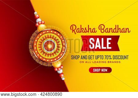 Creative Background With Decorated Rakhi For Raksha Bandhan Sale  - Indian Festival Of Sisters And B